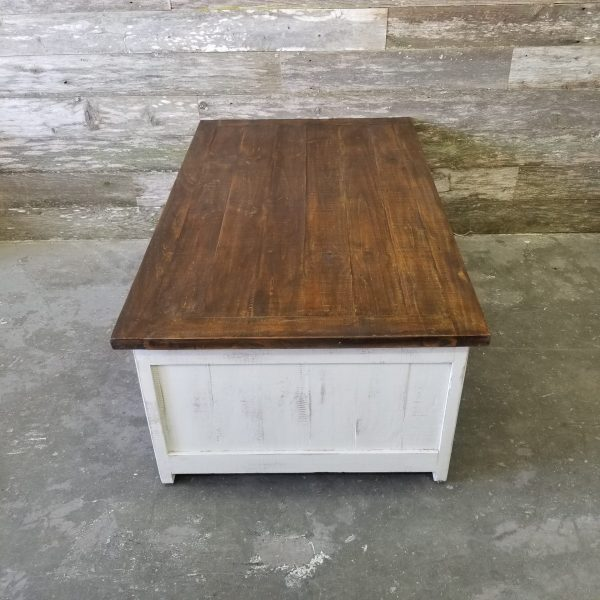 BARN DOOR COFFEE TABLE - WHITE BROWN TOP