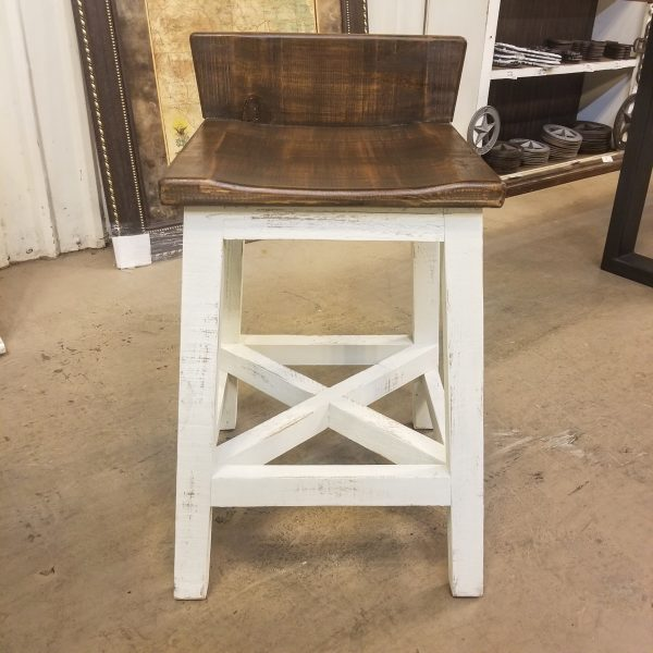 "24"" BAR STOOL - WHITE BROWN TOP"