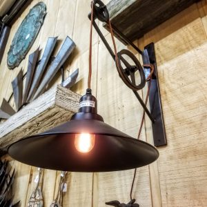 INDUSTRIAL PULLEY WALL SCONCE
