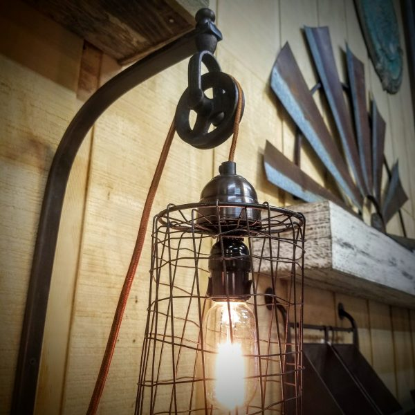 WIRE CYLINDER WALL PULLEY LAMP