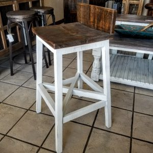 "30"" BAR STOOL - WHITE BROWN TOP"
