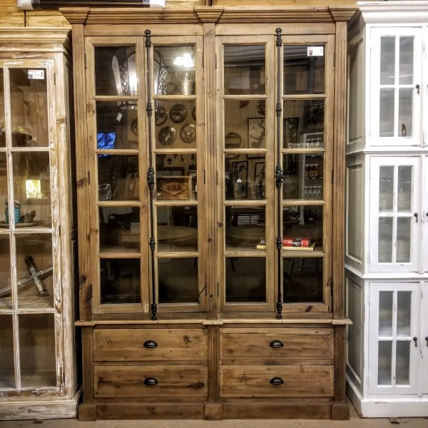 RECLAIMED PINE BOOKCASE WITH DRAWERS