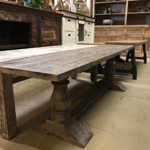 GRAY PEDESTAL DINING BENCH