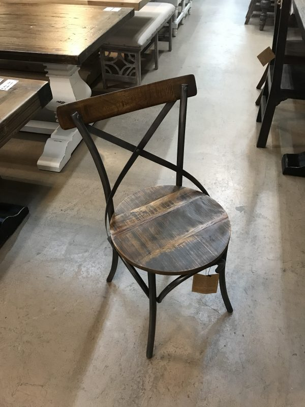 INDUSTRIAL RECLAIMED DINING CHAIR, ROUND SEAT