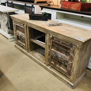 OLD DOOR TV STAND-WHITEWASHED