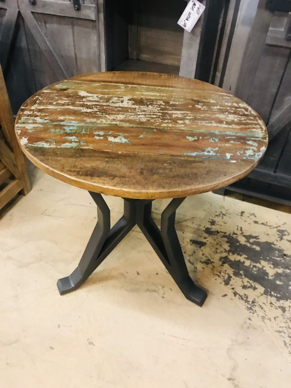 ROUND RECLAIMED END TABLE