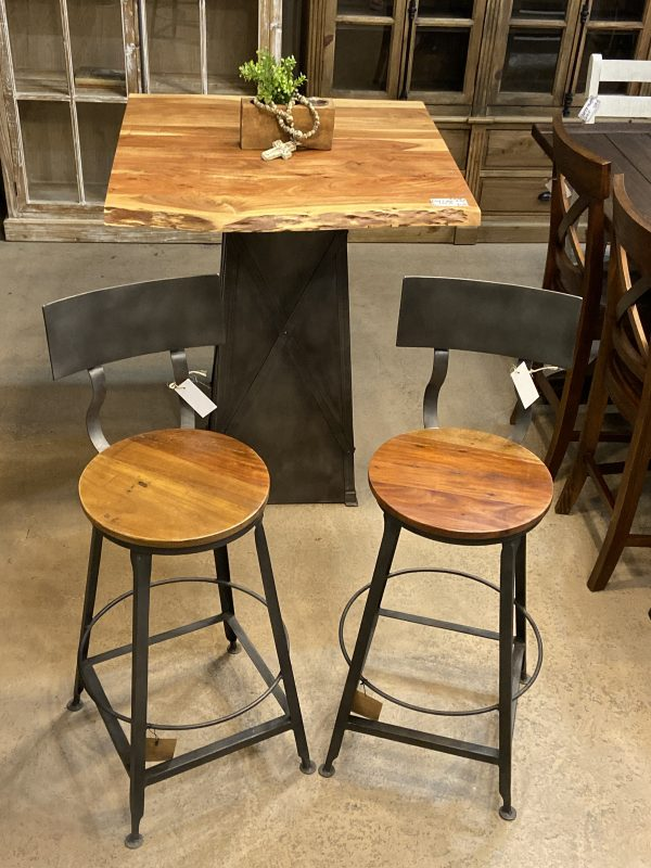 RECLAIMED WOOD AND METAL BAR STOOLS