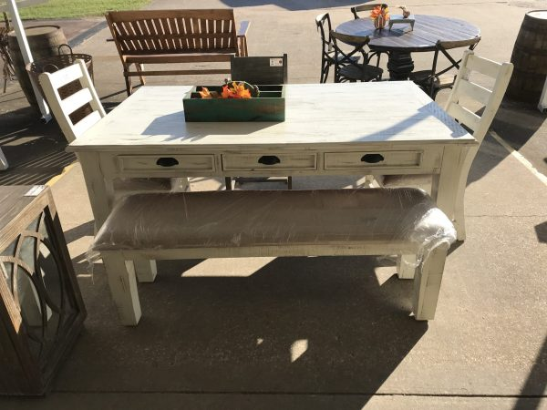 DINING TABLE WITH DRAWERS - WHITE